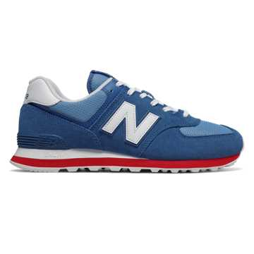 New Balance 574, Classic Blue with Team Red