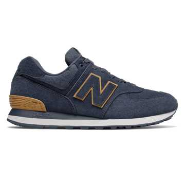New Balance 574, Navy with Tan