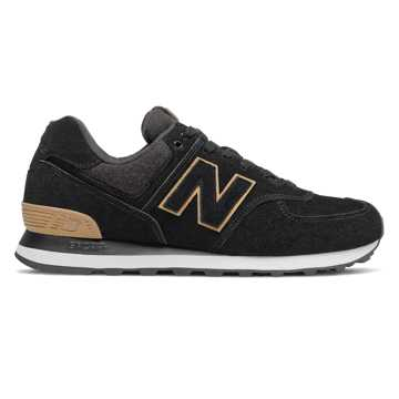 New Balance 574, Black with Tan