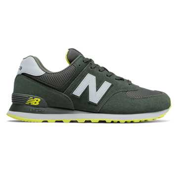 New Balance 574, Defense Green with White & Sulphur Yellow