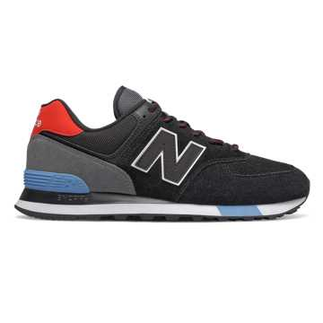 New Balance 574, Black with Velocity Red