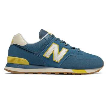 New Balance 574, Blue with Sulphur Yellow