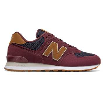 New Balance 574, Maroon with Navy