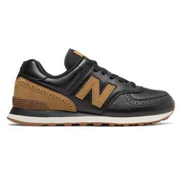New Balance 574系列 中性复古鞋 经典复古 避震舒适, 黑色/卡其色