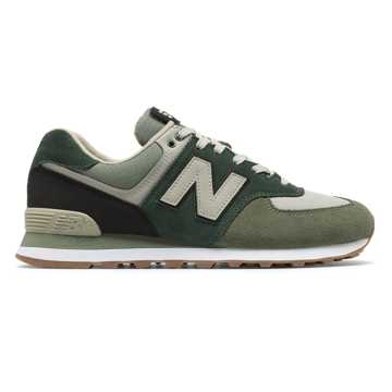 New Balance 574 Military Patch, Mineral Green with Black