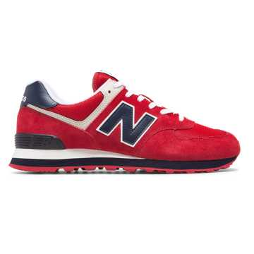 New Balance 574 Essentials, Red with Navy