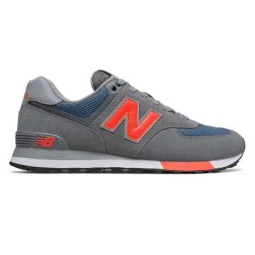 New Balance 574, Lead with Dark Blue & Coral Glow