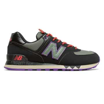 New Balance 574, Black with Slate Green