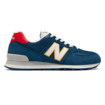 New Balance 574, Dark Blue with Team Red
