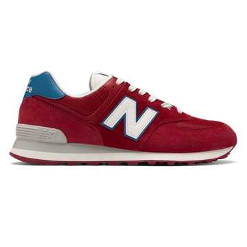 New Balance 574, NB Scarlet with Light Blue