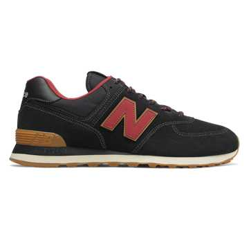 New Balance 574, Black with Earth Red