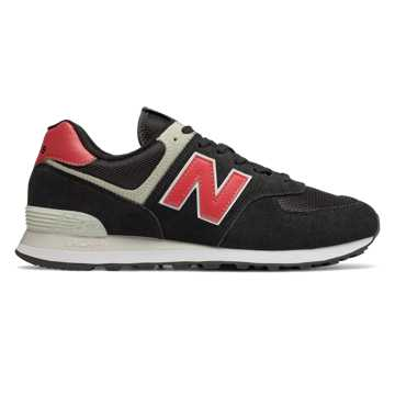 New Balance 574, Black with Pomelo