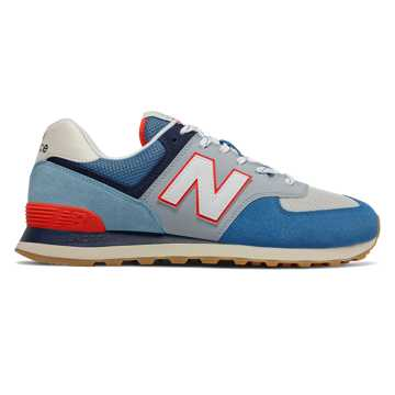 New Balance 574, Mako Blue with Turtle Dove & Neo Flame