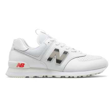 New Balance 574, White with Neo Flame