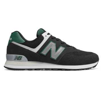 New Balance 574 Pebbled Sport, Black with Team Forest Green