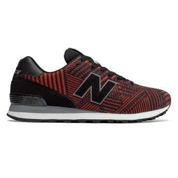 New Balance 574 Beaded, Black with Flame