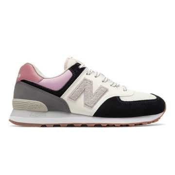 New Balance 574, Black with Dragon Fruit