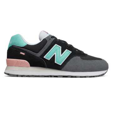 New Balance 574 Marbled Street, Black with Light Tidepool