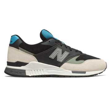 New Balance 840系列男女同款复古休闲运动鞋, 黑色/米色