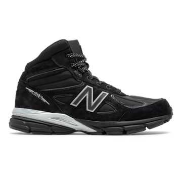 New Balance Mens 990v4 Mid Made in US Black Panther, Black with Silver
