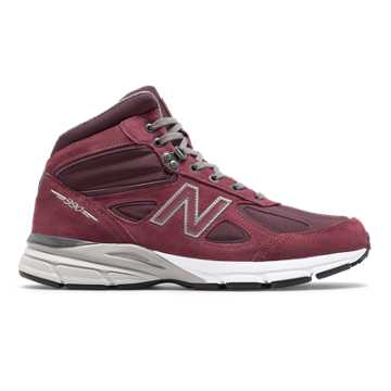 New Balance Mens 990v4 Mid Made in US, Burgundy with Grey