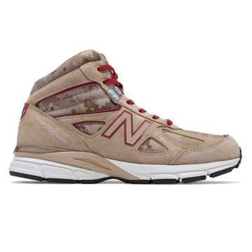 New Balance Mens 990v4 Mid Made in US, Incense with NB Scarlet