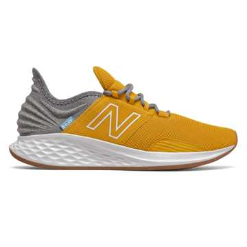 New Balance Fresh Foam Roav Tee Shirt, Varsity Gold with Light Aluminum