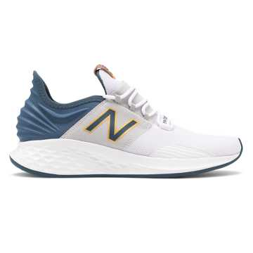 New Balance Fresh Foam Roav, White with Blue Ashes & Yellow