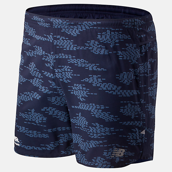 New Balance RFL Printed Impact Run 5 Inch Short, MS01242BECL