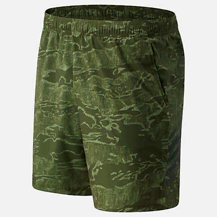 New Balance Tenacity 7 inch Printed Woven Short, MS03019OLG image number null