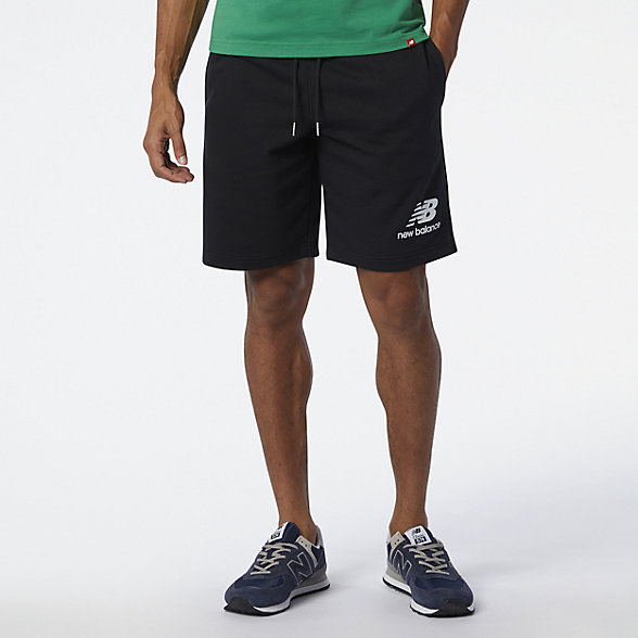 New Balance NB Essentials Stacked Logo Short, MS03558BK