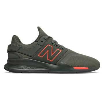 New Balance 247, Defense Green with Coral Glow