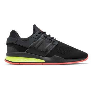 New Balance 247, Black with Solar Yellow