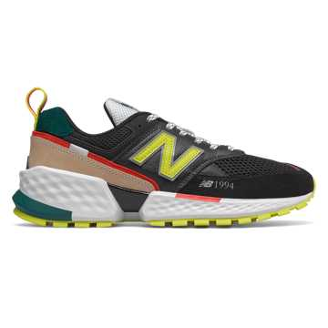 New Balance 574 Sport, Black with Sulphur Yellow