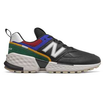 New Balance 574 Sport, Black with Team Forest Green