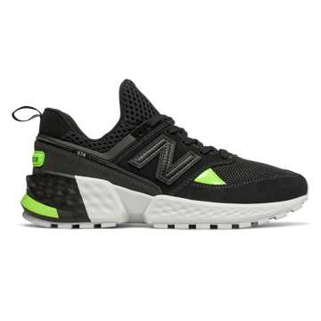 New Balance 574 Sport, Black with Bleached Lime Glo