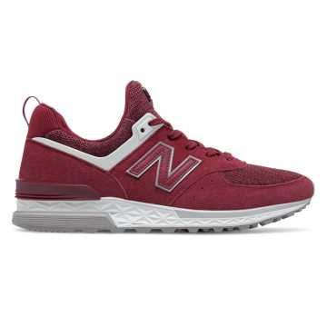 New Balance 574 Sport, Burgundy with White