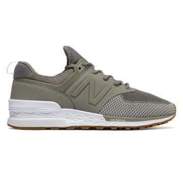 new balance 574 silver metallic trainers