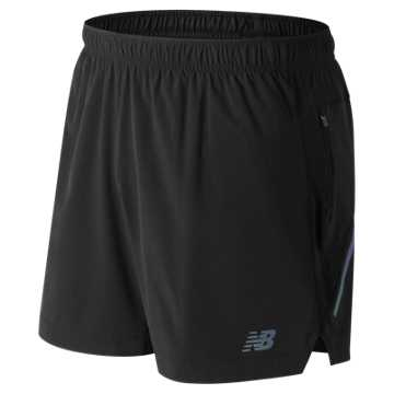 New Balance Printed Impact 5 Inch Short, Black with Black Caviar