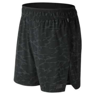 New Balance Printed Transform 2 In 1 Short, Black with Grey