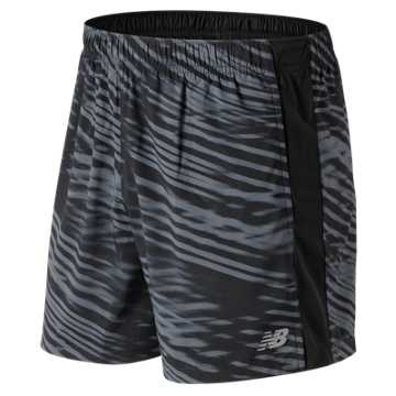 New Balance Printed Accelerate 5 Inch  Short, Black with White