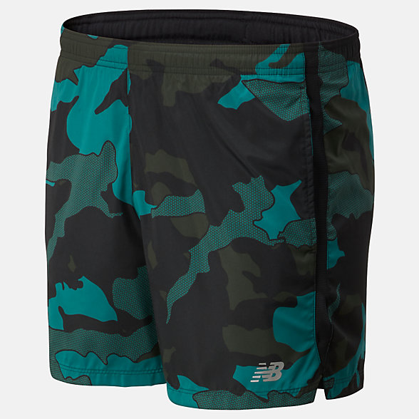 NB Printed Accelerate 5 in Shorts, MS93188MG2