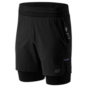 New Balance Q Speed Run Crew 2 In 1 Short, Black