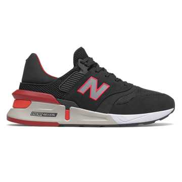 New Balance 997 Sport, Black with Energy Red