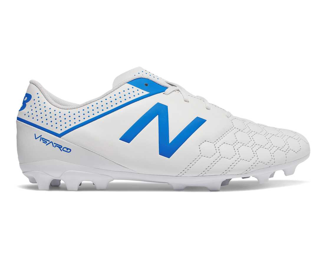 New Balance Visaro Liga Full Grain FG, White with Bolt