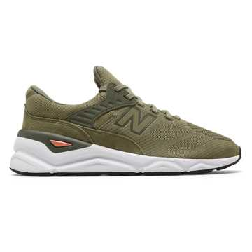 New Balance X-90, Covert Green with Varsity Orange