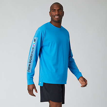 New Balance Printed R.W.T. Long Sleeve Heathertech T, MT01054VBR image number null