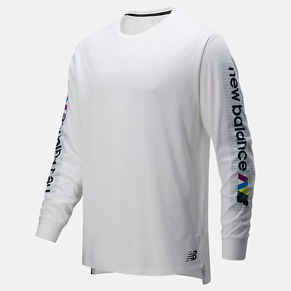 New Balance Printed R.W.T. Long Sleeve Heathertech T, MT01054WM
