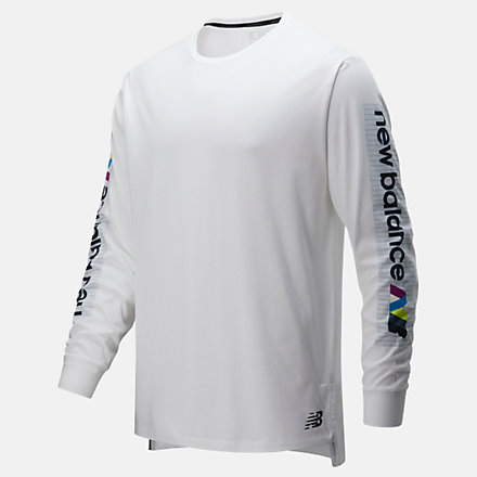 New Balance Printed R.W.T. Long Sleeve Heathertech T, MT01054WM image number null