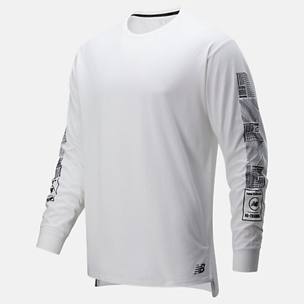 New Balance Printed R.W.T. Long Sleeve Heathertech T, MT01054WT image number null
